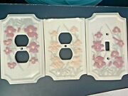 2 Outlet And 1 Switch Plate Covers Porcelain Vintage Iris Flowers Guc B2t