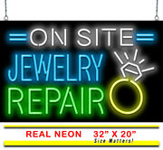 On Site Jewelry Repair Neon Sign | Jantec | 32 X 20 | Jewelers Pawn Shop Gold