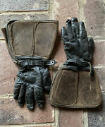 Very Rare Wwi Ww1 Usf Army Leather Pilot Gloves Cf Co Manufacturer 1917-1919