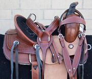 Western Horse Saddle Kids Leather Team Roping Roper Ranch Tack Used 12 13 14