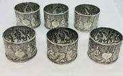 6 Antique Chinese Sterling Silver Hand Chased Figures Scenic Napkin Rings