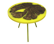 Coffee Table From Apple Tree Saw Cut And Yellow Epoxy Resin