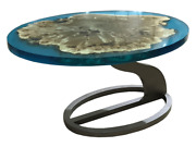Oval Coffee Table From Poplar And Blue Epoxy Resin With Twisted Metal Leg