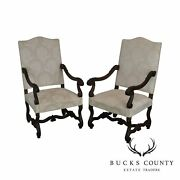 French Louis Xiii Style Antique Carved Pair Armchairs