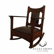 Antique Mission Oak And Leather Rocker Rocking Chair