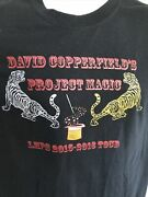 Rare 2015 David Copperfield Magic Tour Double Sided Graphic T Shirt Large Black