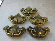 5 Vtg Furniture Drawer Pulls Bail Chippendale Thistle Batwing Canada Cp-2473