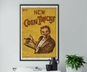 1913 New Coin Tricks Booklet Poster Up To 24 X 36 - Magician - Vintage Art