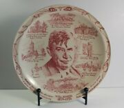 Will Rogers Vernon Kilns Transferware Dinner Plate Made In Usa Pink