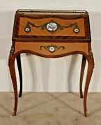 Antique French Louis Xv Petite Ladyand039s Inlaid Ormolu Desk W Porcelain Inserts