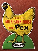 Vintage Milk Bank Boost Pex Chicken Egg Feed Farm Sign Thick Metal Embossed