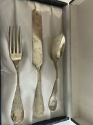 Knowles Boxed Coronet Sterling Silver 3pc Youth Child Set Fork Spoon C1879 Emma