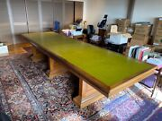 Antique Extreme Large Office Desk Or Dining Table With Leather Inlay Rare Find