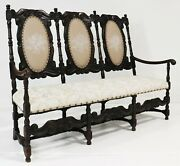 Settee / Sofa , Dark Carved Oak Upholstered Bench, Antique Style, 18-1900's