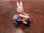 Antique Bunny On Tricycle Tin Wind Up Toy