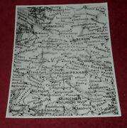 1990 Press Photo Pre-unification Map Of Germany Closeup Portion With City Names