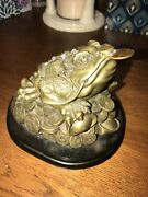 Chinese Money Frog Happy Wishing Well ... With Lincoln Penny... Heavy Brass..