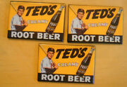 3 Lot Ted Williams Tedand039s Creamy Root Beer Mirrors Boston Red Sox