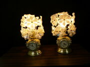 Lot Of 2 Vintage Touch Lamp 3 Way With Clock Acrylic Flowers Unique