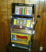 Rare Vtg Bally 909 Electro Mechanical One Cent Penny Slot Machine W/ Stand Read