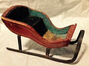 Antique Christmas Miniature Doll Size Painted Wood Sleigh