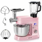 6 In 1 Kitchen Stand Mixer With Meat Grinder And Blender Digital Timer 10 Speeds
