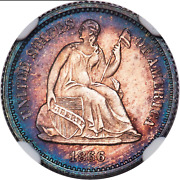 1866 Liberty Seated Half Dime Ngc Ms66 Reflective Color Luster Mintage 10725