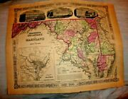 Antique Lovely Colored Map Delaware Maryland District Of Columbia 1864