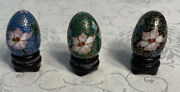 Cloisonne Enamel Miniature Russian Eggs With Bases Approx 1-1/2 X 1 Blues