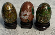 Cloisonne Enamel Miniature Russian Eggs With Bases Approx 1-1/2 X 1 Browns