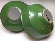 Lot Of 2 Vintage 16 Green Porcelain Lamp Shades Used