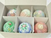 Six Vintage Wax Easter Egg Candles / Millefiori Designs / New In Box