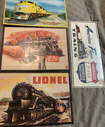 Lot Of 4 Train Signs American Flyer Lionel Union Pacific Metal Signs