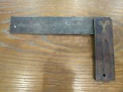 Antique Stanley 7 1/2 Try-square Wood Brass Carpenter Woodworking Tools Pat 96