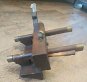 Antique Trade Mark Wood And Metal Brass Plow Plane Moulding Woodworking Tools