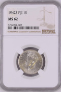 1942s Fiji 1 Shilling Ngc Ms 62 Witter Coin