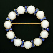 Antique Art Nouveau 14k Gold Pearl And Montana Sapphire Wreath Circle Pin Brooch