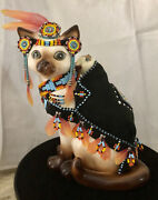 Vintage Lipper And Mann Cat - Native American Cat W/papoose Hand Beaded - Feathers