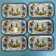 6 Massilly France Faienceries De Quimper Hb Henriot Metal/tin/snack Tray Lot