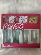 Assorted Coca Cola Glasses Set With Coasters 1890, 1910, 1920, 1950 New/open Box