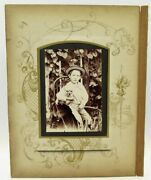 Victorian Boy W/ His Dog Cabinet Card Photo In Album Page