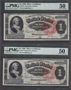 2 Consecutive Fr.218 1886 1 Silver Certificate Pmg 50 About Uncirculated.
