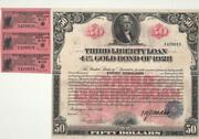 A Very Rare 1918 50 Third Liberty Loan 4 1/4 Gold Bond In About Uncirculation.