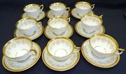Ansley England Gold Dowery Set Of 9 Cups And Saucers -bone China