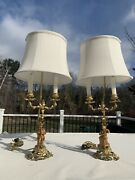 Superb French Pair Of Gilt Bronze Candelabra Lamps Musicians Very Old Signed