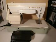 Vintage Singer Fashion Mate Sewing Machine 247 W/ Foot Pedal And Case Tested