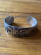 Vintage Sterling Silver Hopi Two Bear With Claws Cuff Bracelet