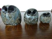 Vintage Owls Stoneware Ruth And Stan Walters Studio Pottery Set Of 3 Owls