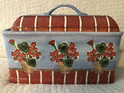 Vintage And Rare Department 56 Ceramic Blue With Flowers Bread Box Container