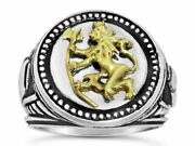 Norse Lion Mens Coin Ring Bluekorps Nordnaes Battalion Sterling Silver .925